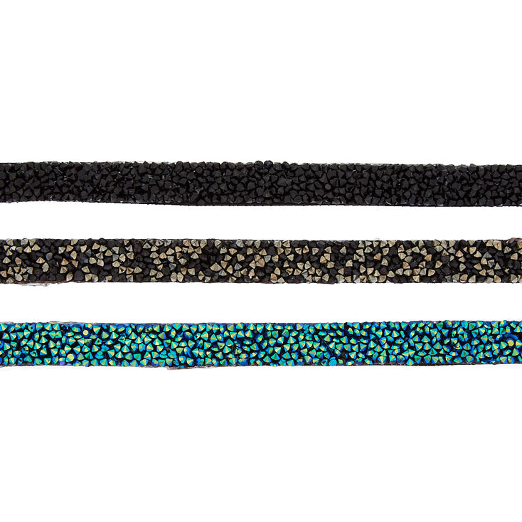 Embellished Choker Necklaces - Blue, 3 Pack,