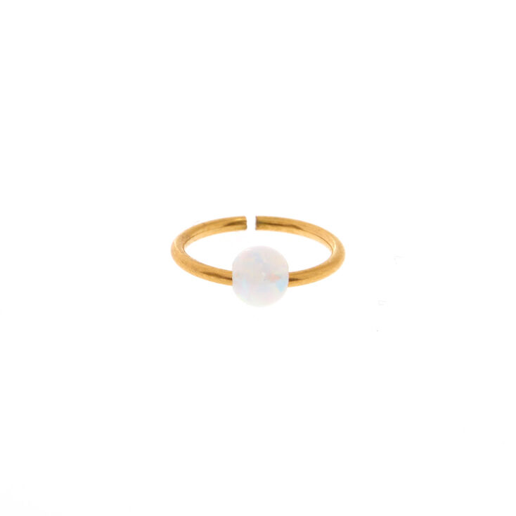 Gold Iridescent Opal Nose Ring,