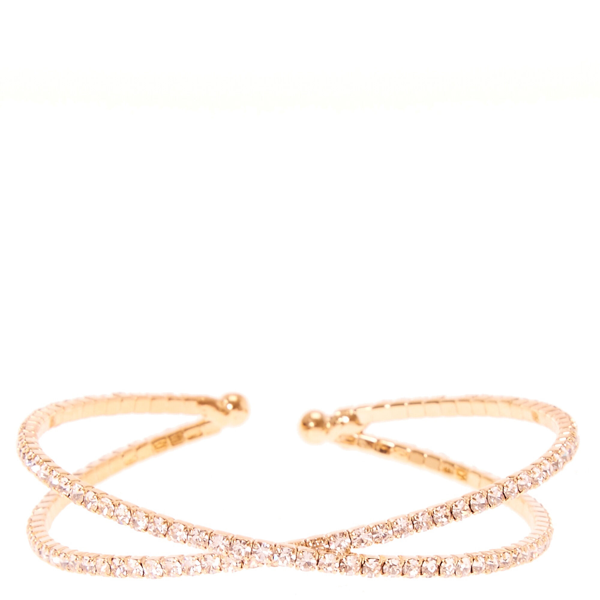 Rose Gold Rhinestone Criss Cross Bracelet