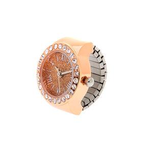 Rose Gold Glitter Ring Watch,