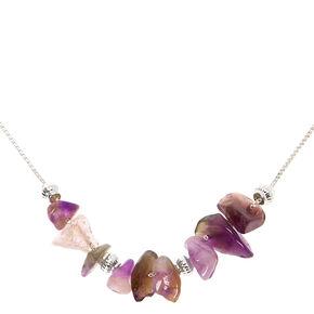 Silver Amethyst Stone Peace Pendant Necklace - Purple,