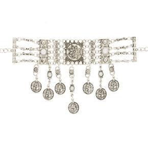 Esmeralda Silver Statement Choker Necklace,