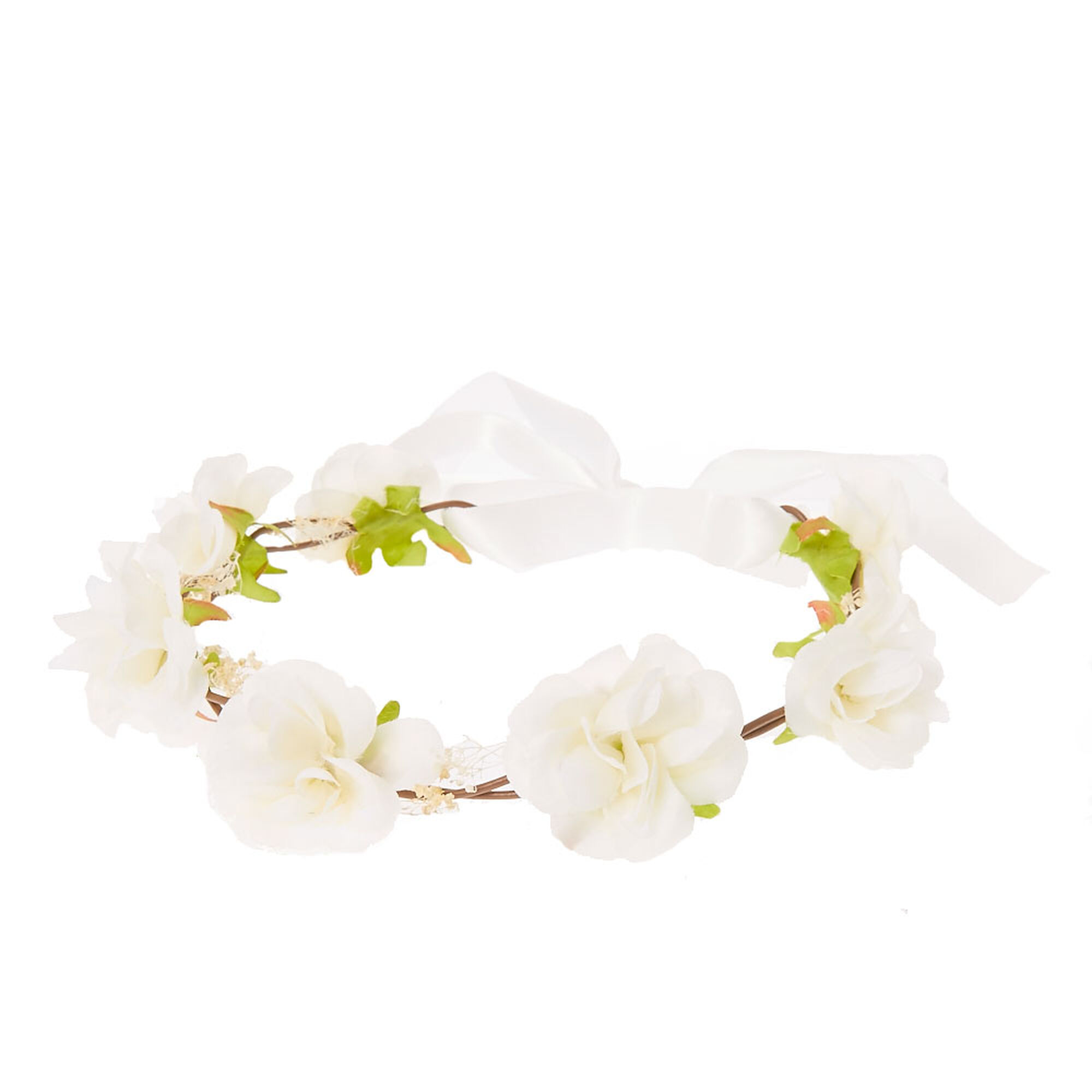 White Rosette Hair Garland Flower Crown | Icing US