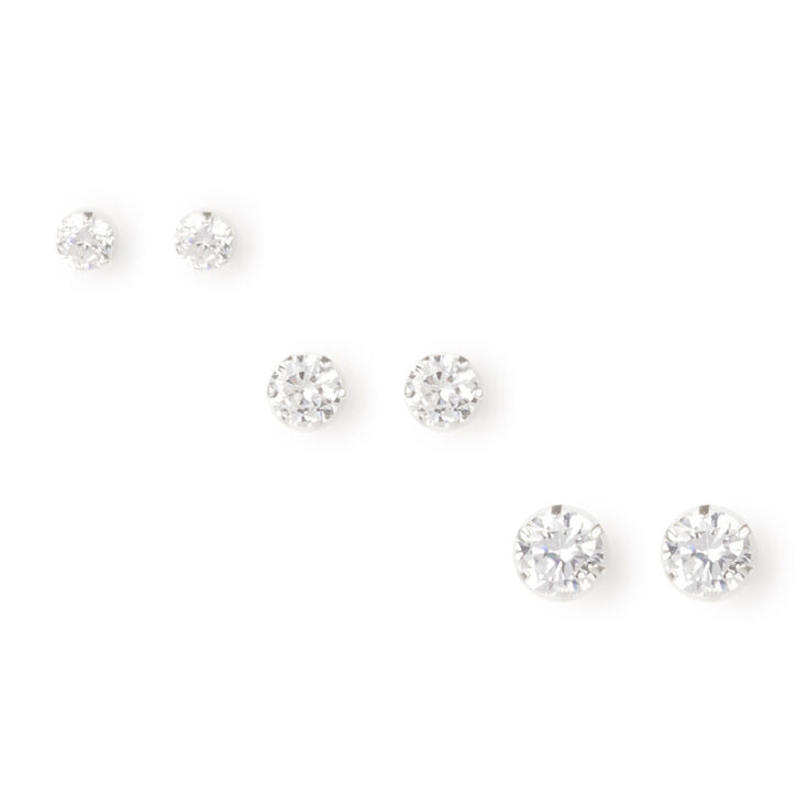 Graduated Sterling Silver & Square Cubic Zirconia Stud Earrings  - 3 Pack,