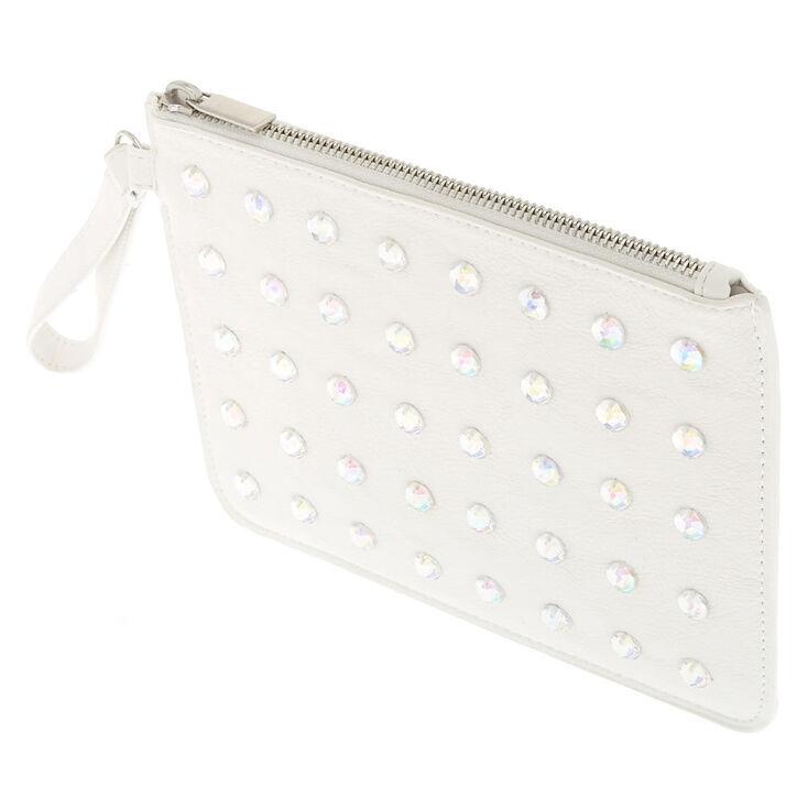 White Crystal Faux Leather Wristlet,
