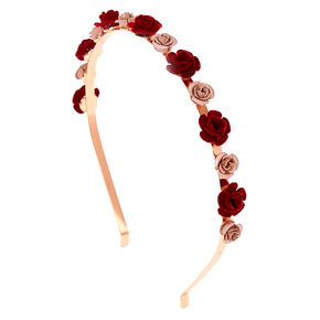 Rose Gold Metallic Velvet Roses Headband,