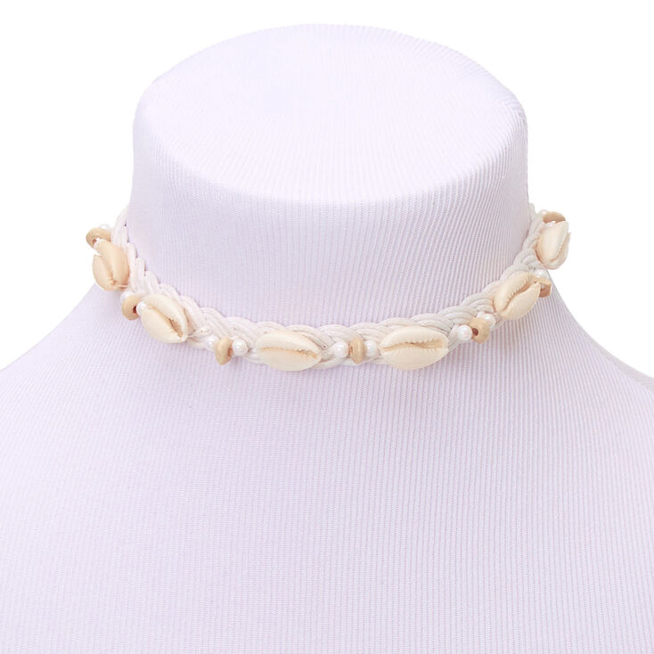 Pearl Cowrie Shell Braided Choker Necklace - White,