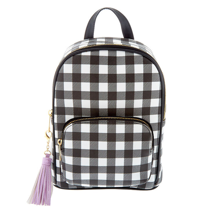 Gingham Print Midi Backpack - Black,