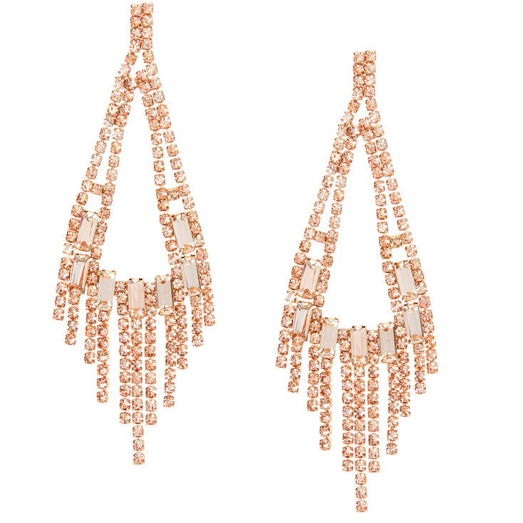 "Rose Gold Rhinestone 3"" Rectangle Chandelier Drop Earrings,"