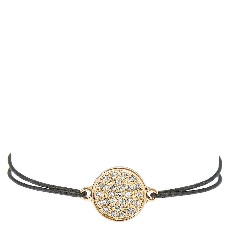 Black Double Stretch Bracelet with Glitter Charm,