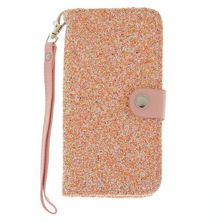 Blush Crushed Glitter Folio Phone Case - Fits iPhone 6/7/8 Plus,