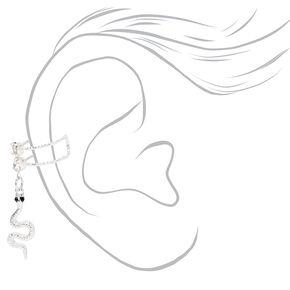 Silver Crystal Snake Charm Ear Cuff,