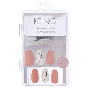 Blush & Marble Coffin Faux Nail Set - Pink, 24 Pack,
