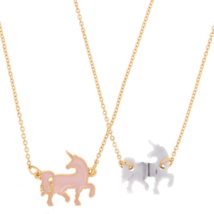 Best Friends Unicorn Pendant Necklaces - Pink,