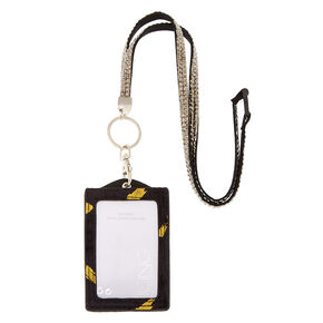 Velvet Keyring ID Holder with Lanyard - Black,