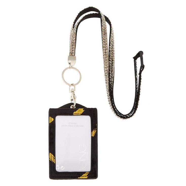 Velvet Keyring ID Holder with Lanyard - Black,