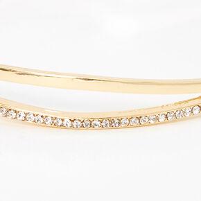 Gold Pave Rhinestone Double Bangle Bracelet,