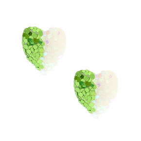 Green & White Glitter Heart Stud Earrings,