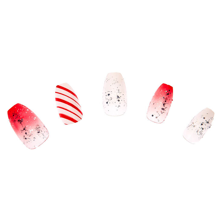 Candy Cane Coffin Press On Faux Nails - 24 Pack,