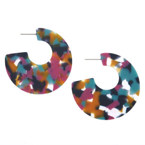 Gold 50MM Tortoiseshell Hoop Earrings - Rainbow,