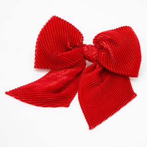 Pleated Sequin Hair Bow Clip - Red,