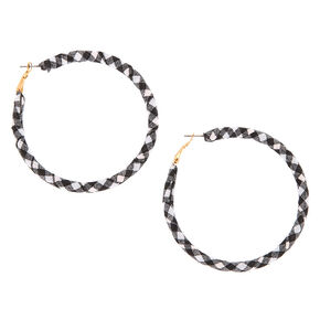 50MM Fabric Wrapped Gingham Hoop Earrings,