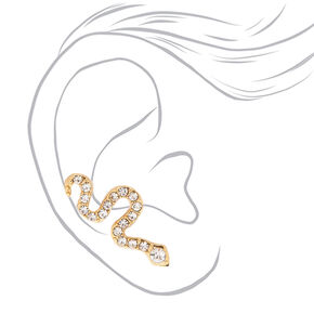 "Simulated Crystal 1"" Snake Ear Crawler Earrings,"