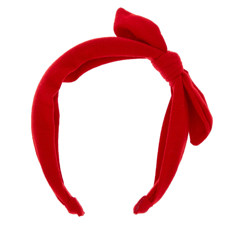 Knotted Bow Headband - Red,