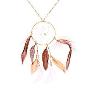 Gold Dreamcatcher Long Pendant Necklace - Brown,