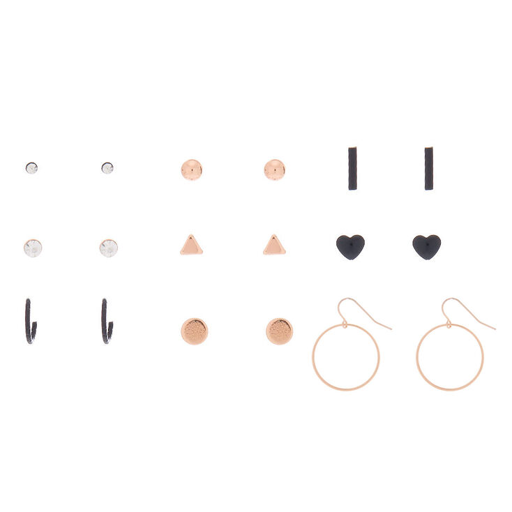 Rose Gold Mixed Earring Set - 9 Pack,