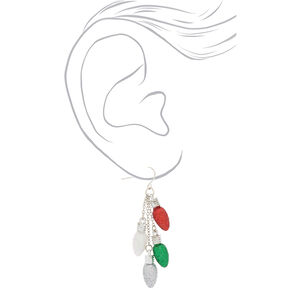 "Silver 2.5"" Christmas Lights Drop Earrings,"
