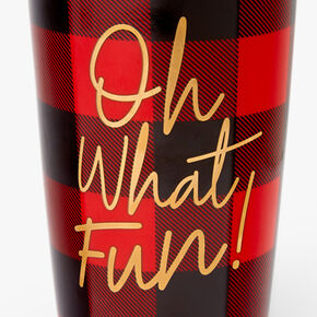 Oh What Fun Plaid Travel Mug - Red,