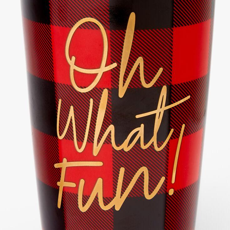 Oh What Fun Plaid Travel Mug - Red,
