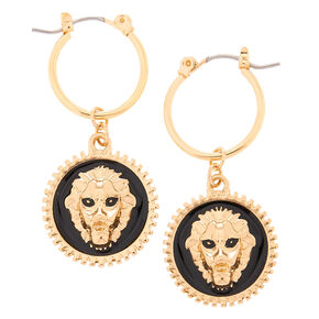 Gold 10MM Lion Charm Hoop Earrings,