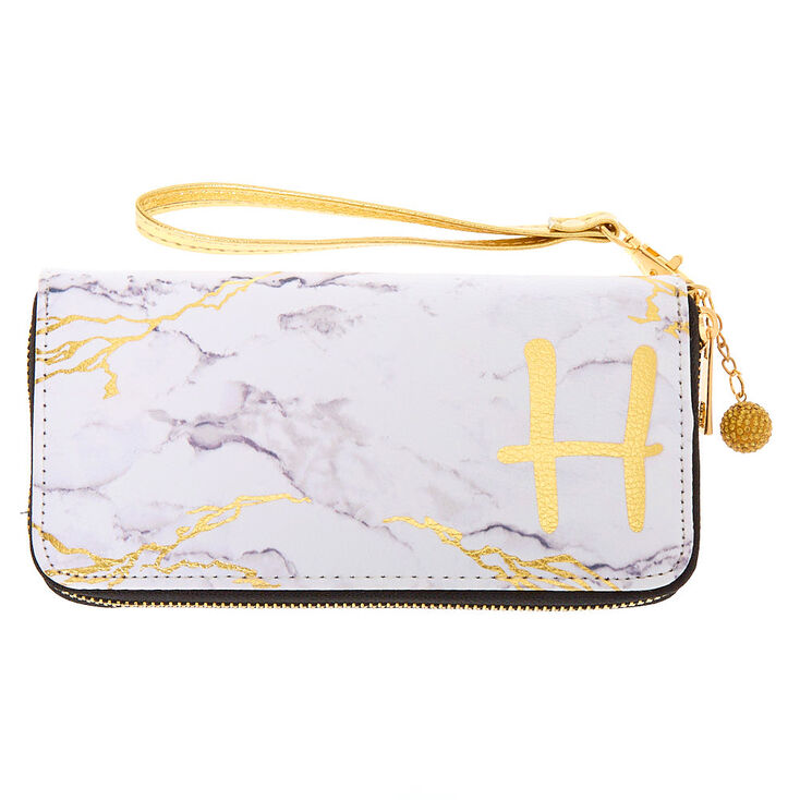 Marble Initial Wristlet - H,