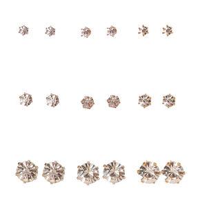 Mixed Metal Frame Graduated Faux Crystal Stud Earrings,