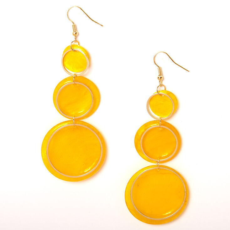"Gold 3"" Round Seashell Trio Drop Earrings - Yellow,"