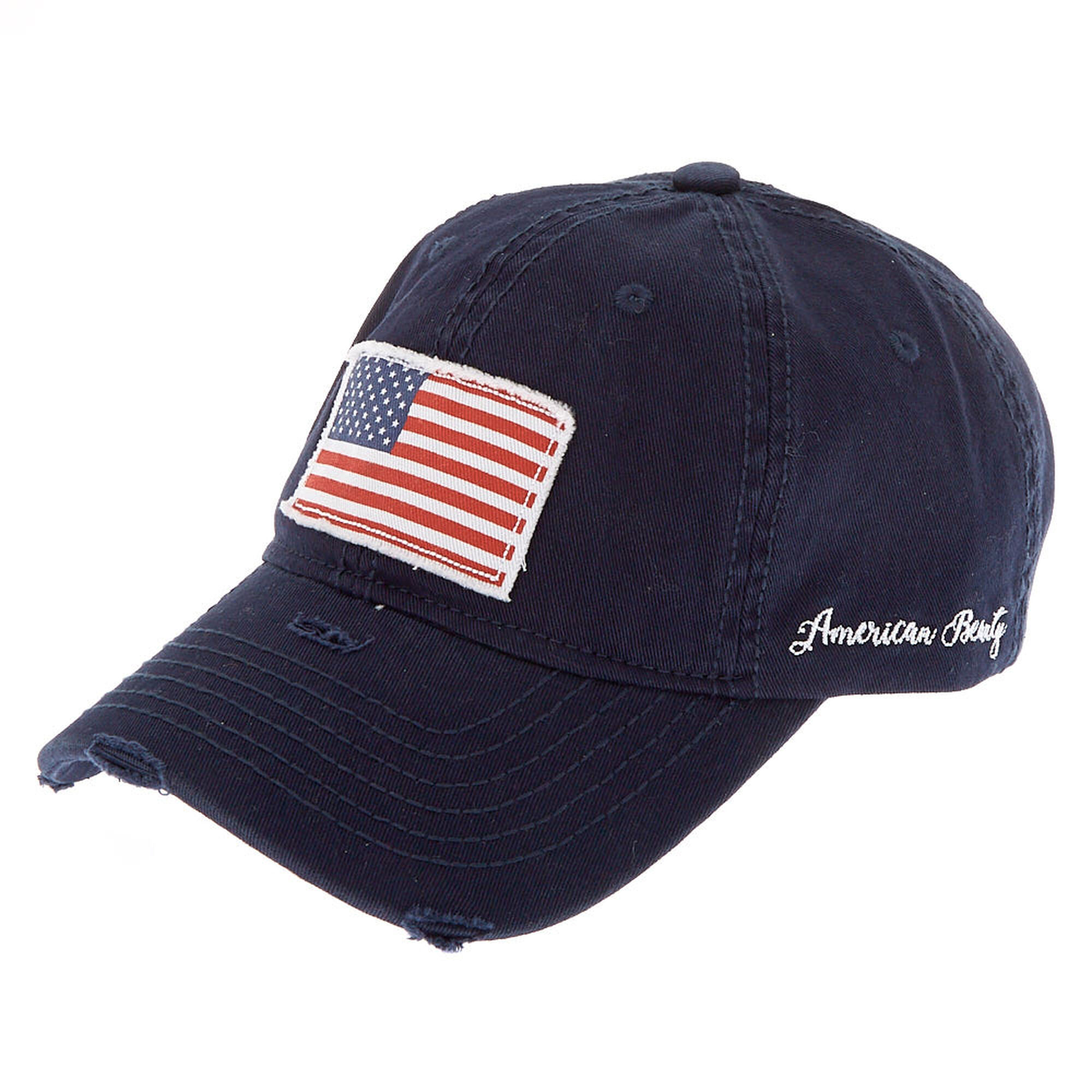 American Flag Patch Baseball Hat - Navy
