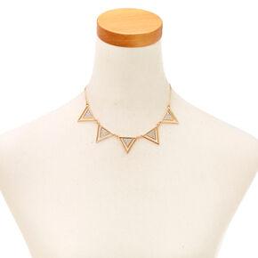 Geometric Silver Glitter Tape Statement Necklace,