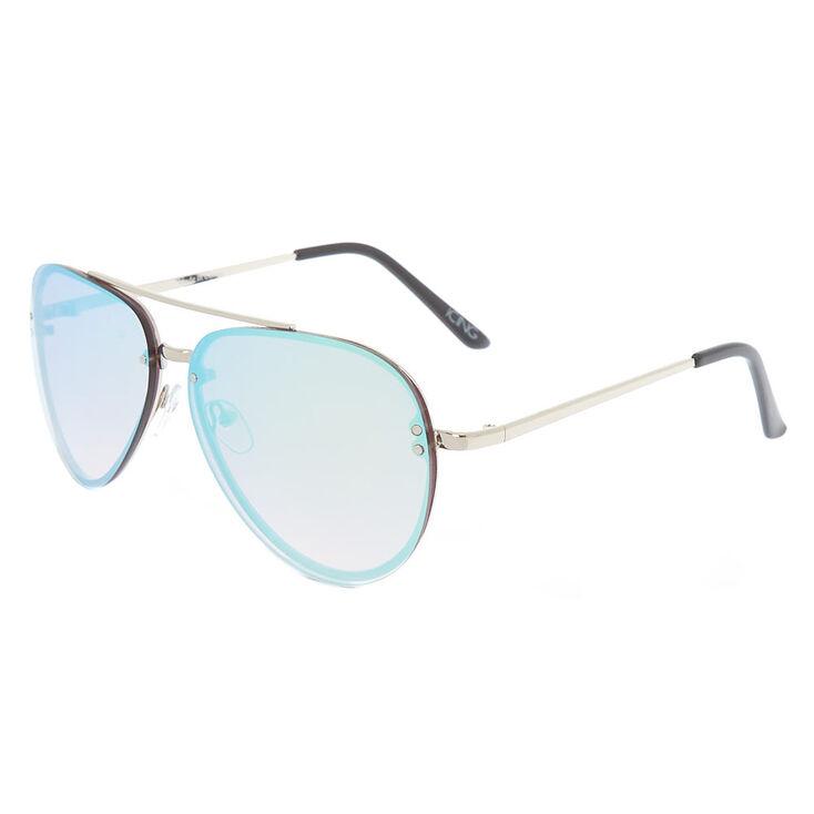 Metallic Rimless Aviator Sunglasses - Blue,