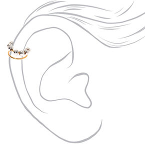 Mixed Metal Beaded Double Row Ear Cuff,