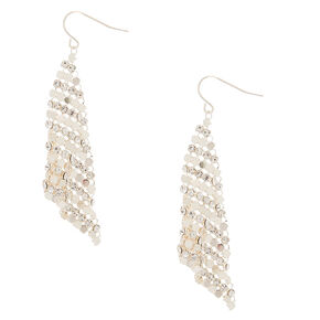 "Silver 2.5"" Crystal Mesh Drop Earrings,"