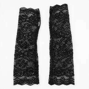 Floral Lace Arm Warmers - Black,