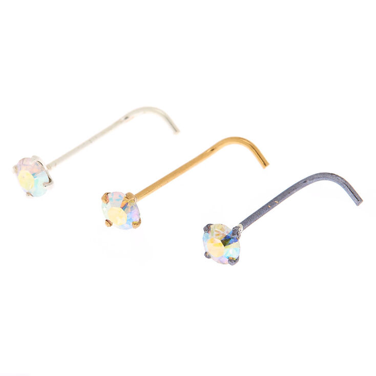Mixed Metal 22G Cubic Zirconia Nose Studs - 3 Pack,