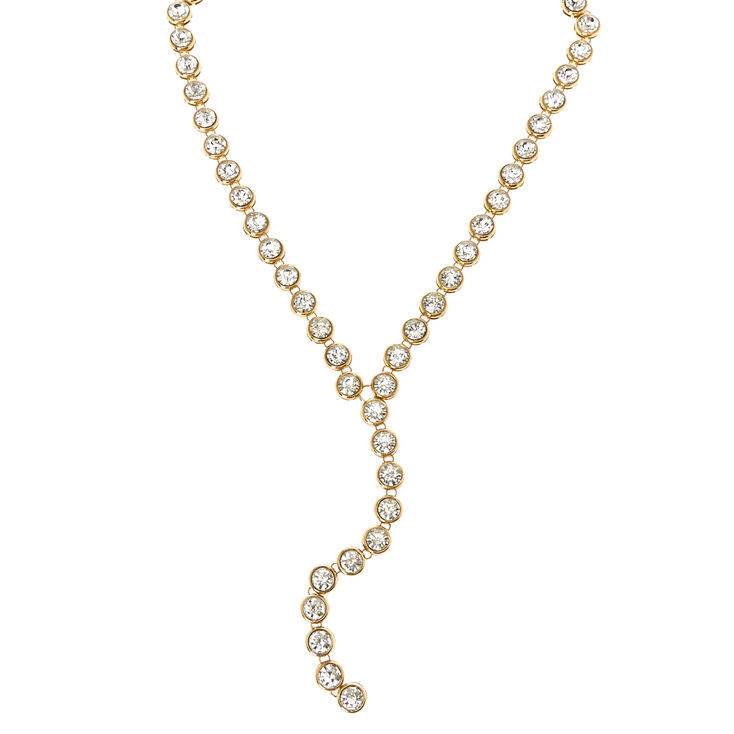 Gold Tone Round Crystal Y-Necklace,