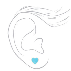 Sterling Silver Crystal Heart Stud Earrings - Teal, 2 Pack,