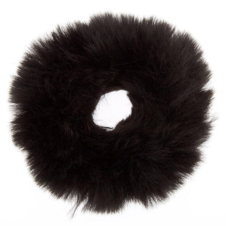 Faux Fur Hair Scrunchie - Black,