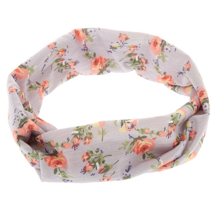 Grey Roses Headwrap,