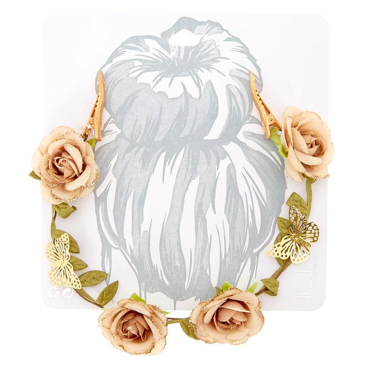 Glitter Butterfly Flower Hair Swag - Champagne,