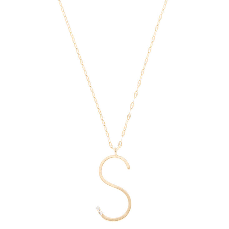 Oversized Initial Stone Pendant Necklace - S,